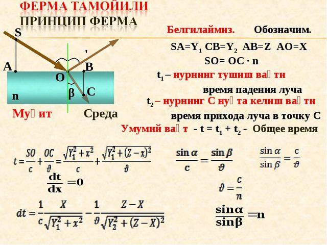 α α' β S C A O B n Муҳит Среда Белгилаймиз. Обозначим. SA=Y1 CB=Y2 AB=Z AO=X...