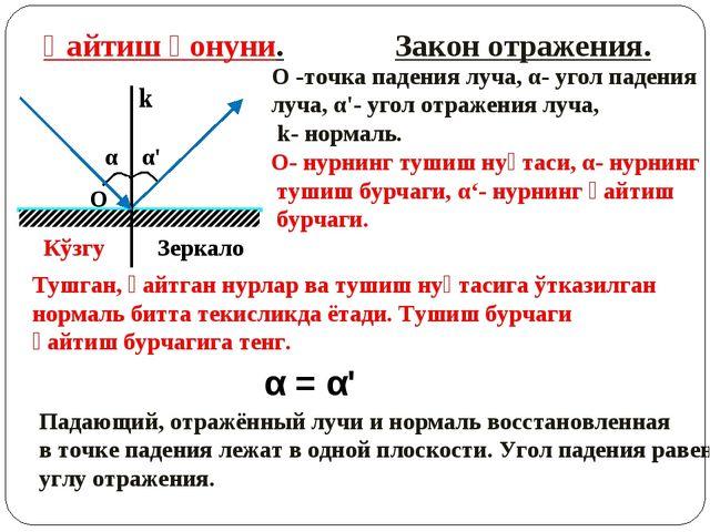 α α' Қайтиш қонуни. Закон отражения. k O O -точка падения луча, α- угол паден...