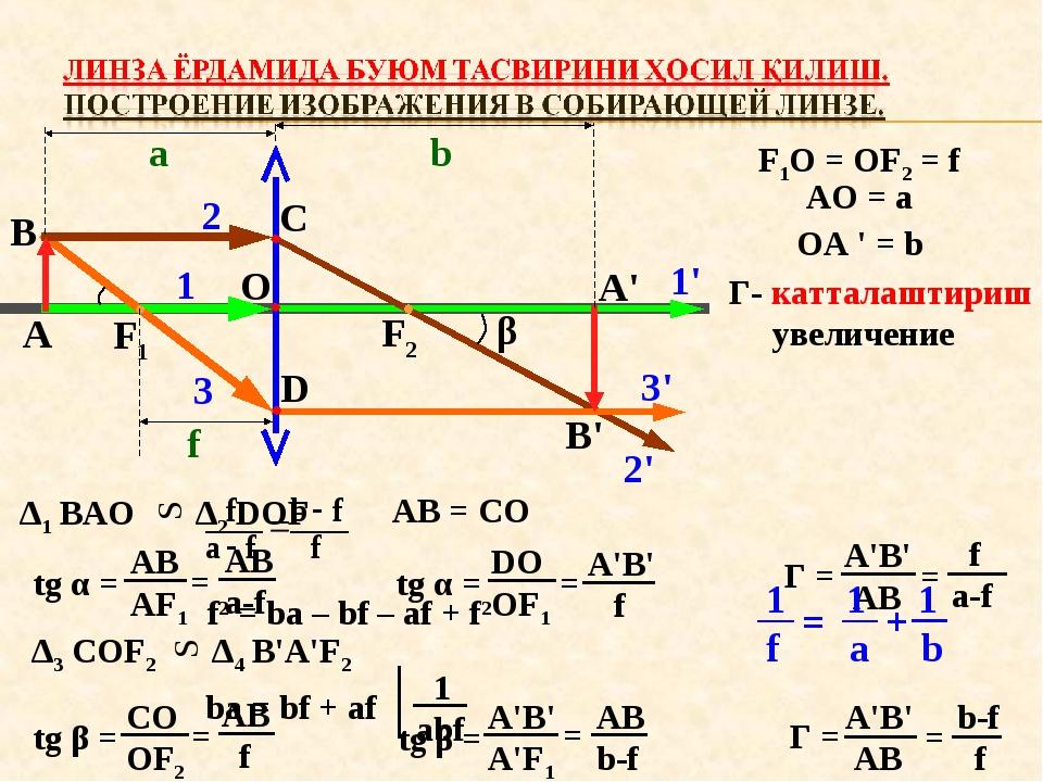 А В F1 F2 O C D α β A' B' 1 1' 2 2' 3 3' a b f F1O = OF2 = f AO = a OA ' = b...