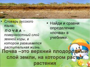 Словарь русского языка: П О Ч В А – поверхностный слой земной коры, в котором
