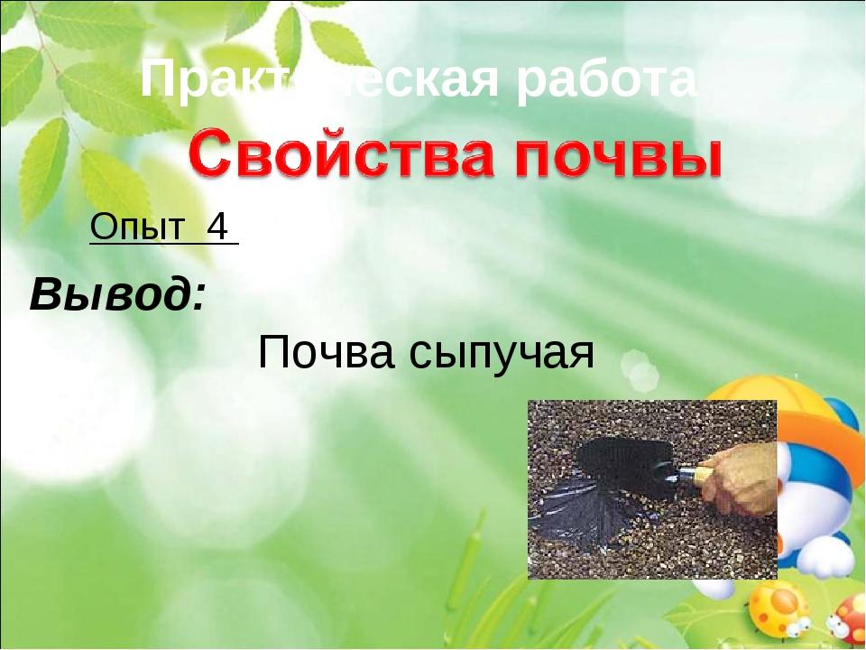 Практическая работа Опыт 4 Вывод: Почва сыпучая