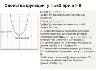 Свойства функции y=ax2приa> 0: 1. Еслиx= 0, тоy= 0. График функции пр