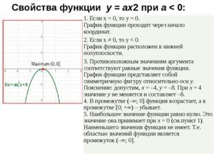 Свойства функции y=ax2приa< 0: 1. Еслиx= 0, тоy= 0. График функции пр