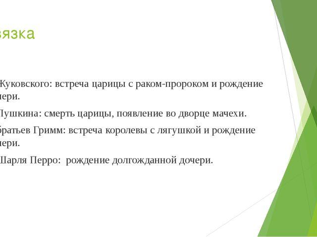 Завязка У Жуковского: встреча царицы с раком-пророком и рождение дочери. У Пу...