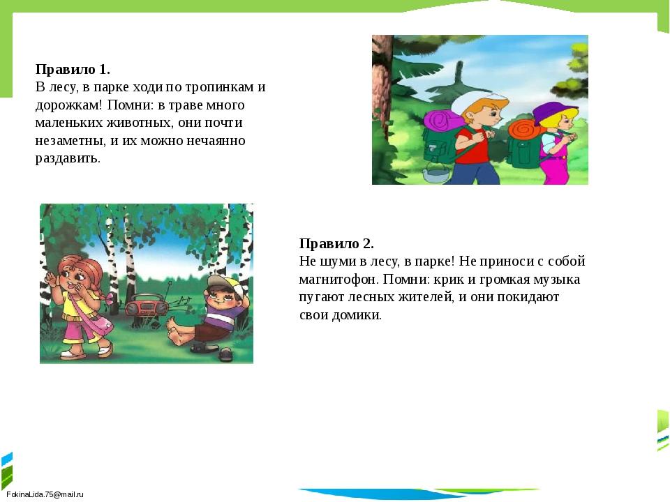 Правило 1. В лесу, в парке ходи по тропинкам и дорожкам! Помни: в траве мног...