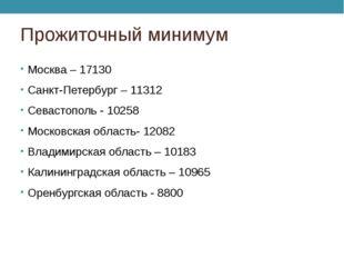 Прожиточный минимум Москва – 17130 Санкт-Петербург – 11312 Севастополь - 1025