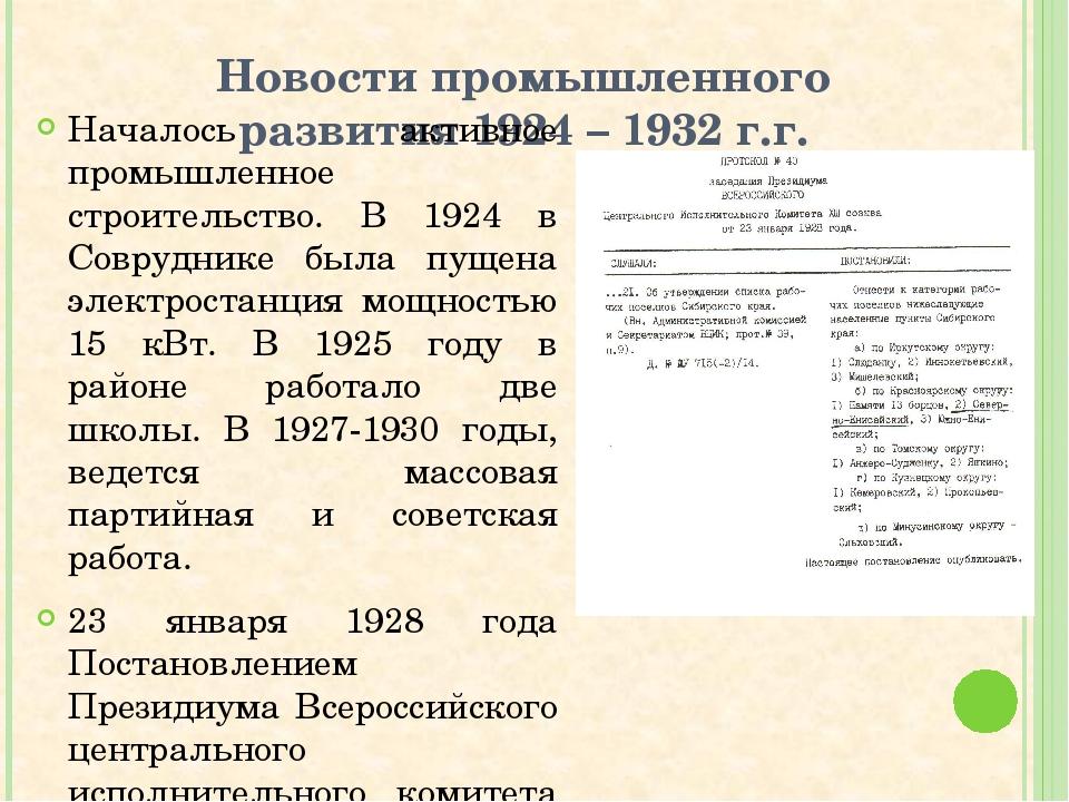 Новости промышленного развития 1924 – 1932 г.г. Началось активное промышленно...