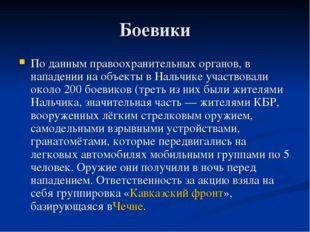 Боевики По данным правоохранительных органов, в нападении на объекты в Нальчи