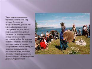 Как и другие шаманисты, буряты населяли весь мир духами. Духи,по их представл