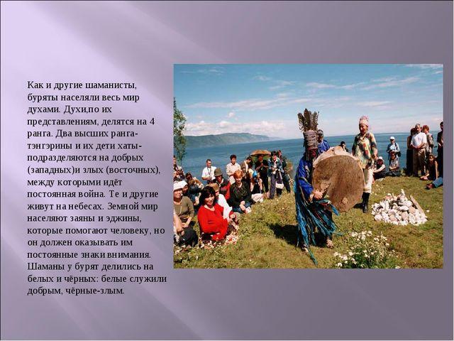 Как и другие шаманисты, буряты населяли весь мир духами. Духи,по их представл...