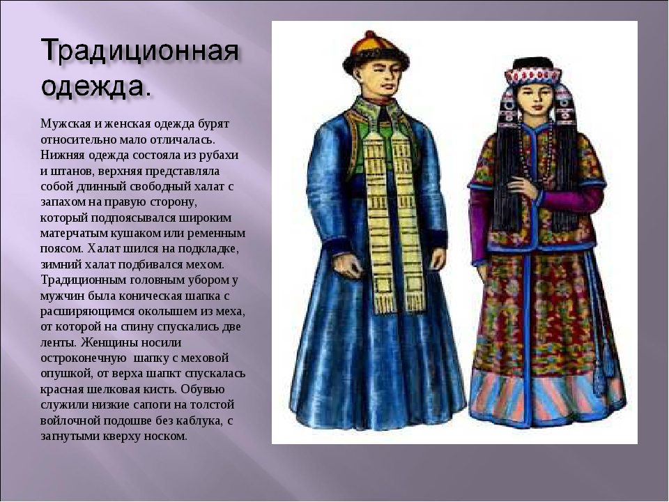 Мужская и женская одежда бурят относительно мало отличалась. Нижняя одежда со...