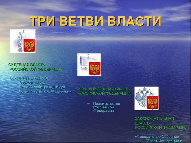 ТРИ ВЕТВИ ВЛАСТИ    ИСПОЛНИТЕЛЬНАЯ ВЛАСТЬ РОССИЙСКОЙ ФЕДЕРАЦИИ Правительст...