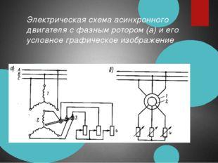Электрическая схема асинхронного двигателя с фазным ротором (а) и его условно