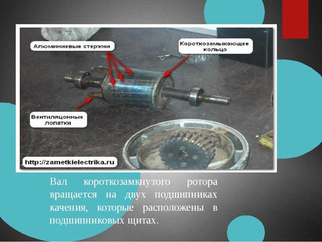 Вал короткозамкнутого ротора вращается на двух подшипниках качения, которые р...