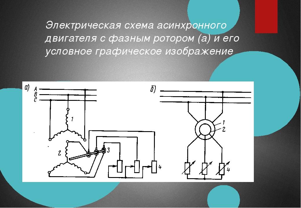 Электрическая схема асинхронного двигателя с фазным ротором (а) и его условно...