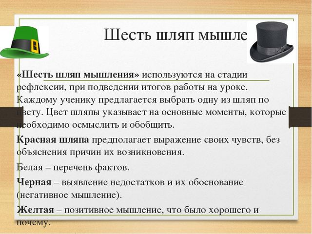Шесть шляп мышления «Шесть шляп мышления» используются на стадии рефлексии, п...