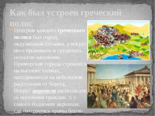 Центром каждогогреческого полисабыл город, окруженный стенами, а вокруг нег