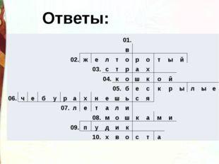Ответы: 01. в 02. ж е л т о р о т ы й 03. с т р а х 04. к о ш к о й 05. б е с