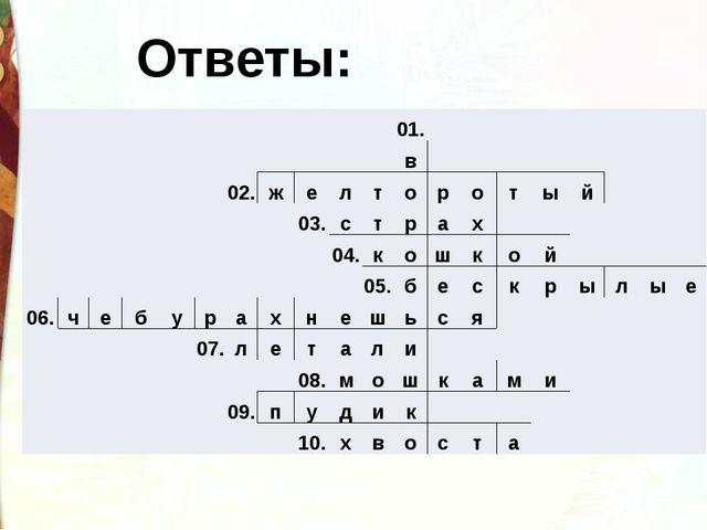 Ответы: 01. в 02. ж е л т о р о т ы й 03. с т р а х 04. к о ш к о й 05. б е с...