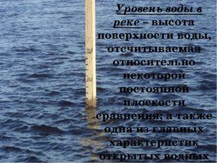 Уровень воды в реке – высота поверхности воды, отсчитываемая относительно не