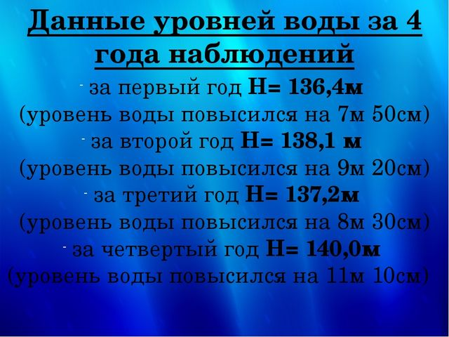 Данные уровней воды за 4 года наблюдений  за первый год H= 136,4м (уровень в...