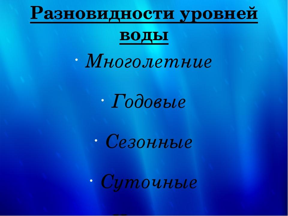 Разновидности уровней воды Многолетние Годовые Сезонные Суточные Часовые