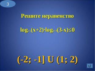 Решите неравенство log2-x(x+2)∙logx+3(3-x)≤0 (-2; -1] U (1; 2) 3