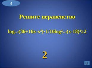 Решите неравенство logx+2(36+16x-x²)-1/16log²x+2(x-18)²≥2 2 4
