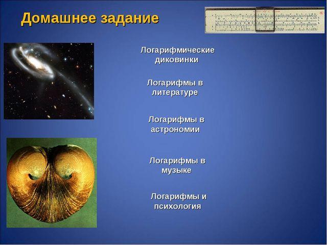 Логарифмические диковинки Логарифмы в литературе Логарифмы в астрономии Логар...