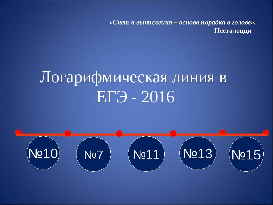 Логарифмическая линия в ЕГЭ - 2016 «Счет и вычисления – основа порядка в голо...