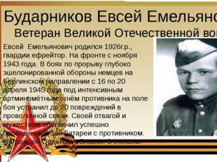 Бударников Евсей Емельянович Ветеран Великой Отечественной войны Евсей Емель
