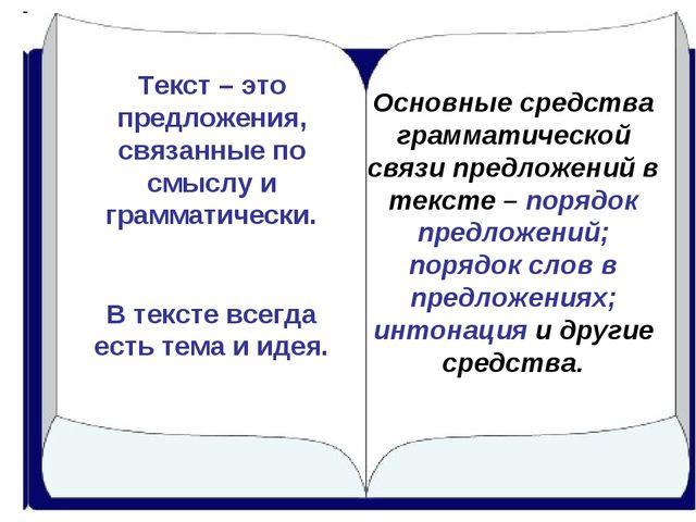 Текст – это предложения, связанные по смыслу и грамматически. В тексте всегда...