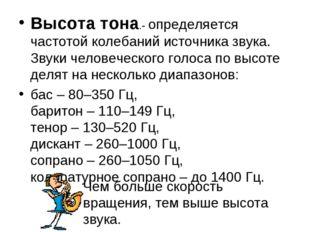 Высота тона.- определяется частотой колебаний источника звука. Звуки человече