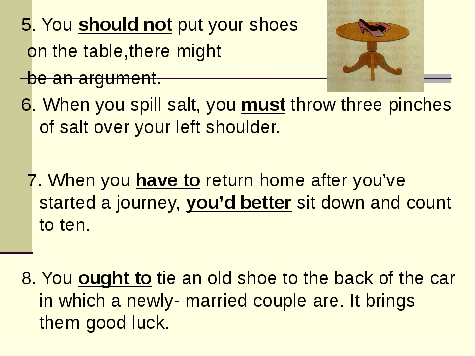 5. You should not put your shoes on the table,there might be an argument. 6....