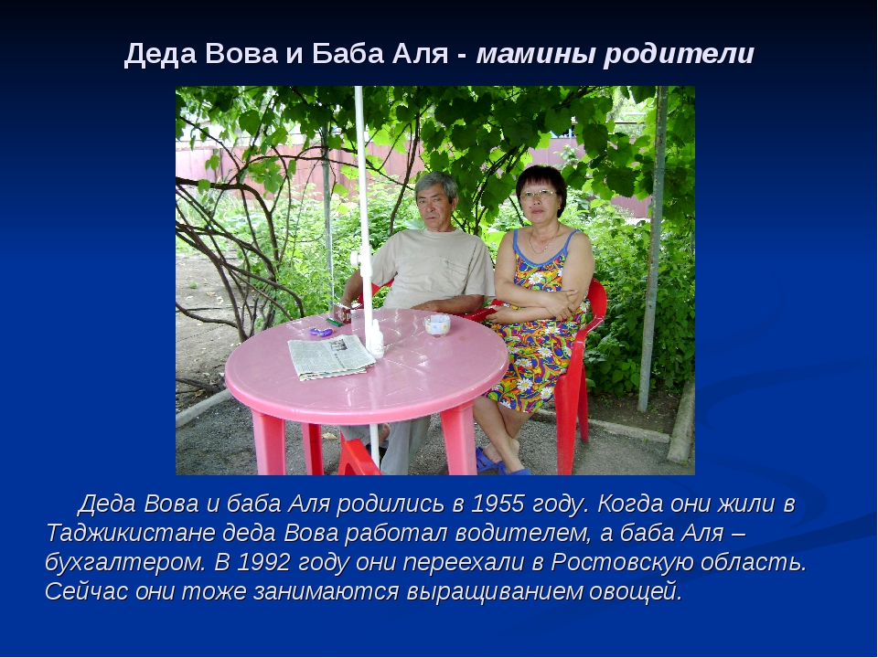 Деда Вова и Баба Аля - мамины родители Деда Вова и баба Аля родились в 1955 г...
