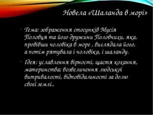 Новела «Шаланда в морі» Тема: зображення стосунків Мусія Половця та його друж