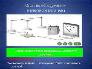 Опыт по обнаружению магнитного поля тока Расположим вблизи проводника магнит