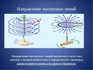Направление магнитных линий Направление магнитных линий магнитного поля тока