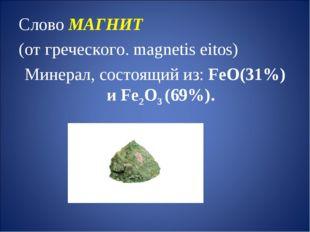 Слово МАГНИТ (от греческого. magnetis eitos) Минерал, состоящий из: FeO(31%)