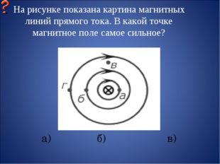 На рисунке показана картина магнитных линий прямого тока. В какой точке магни