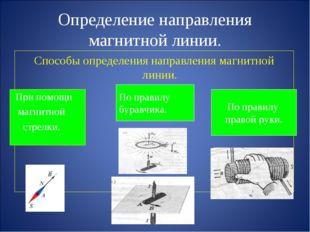 Определение направления магнитной линии. Способы определения направления магн