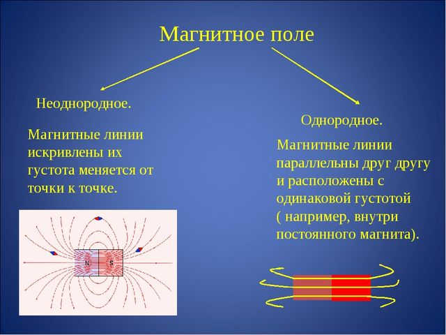 Магнитное поле Неоднородное. Однородное. Магнитные линии искривлены их густот...