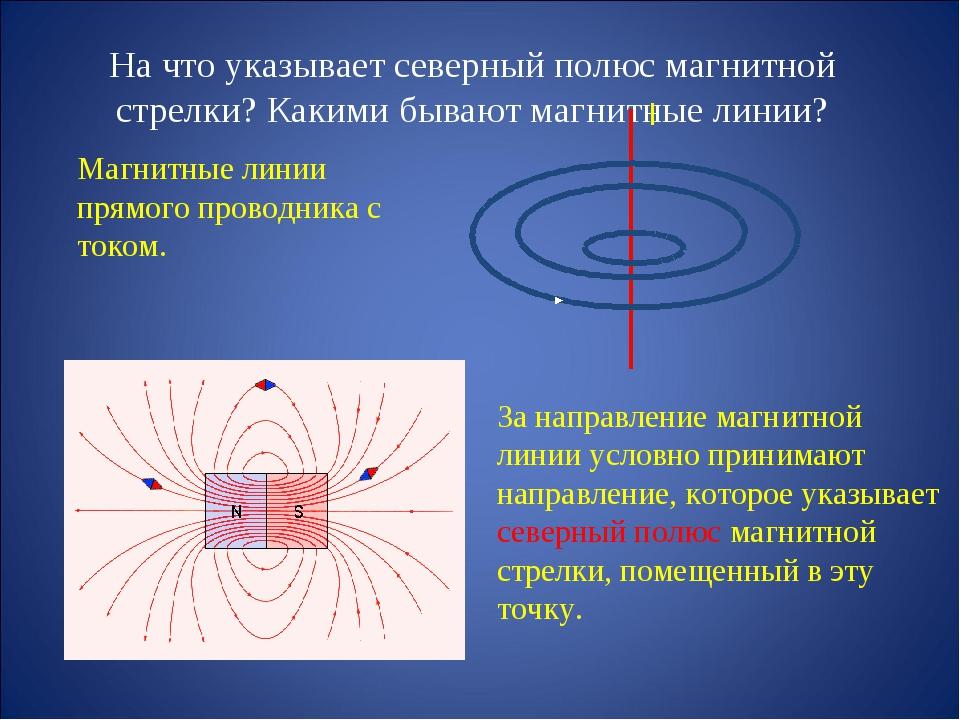 На что указывает северный полюс магнитной стрелки? Какими бывают магнитные ли...