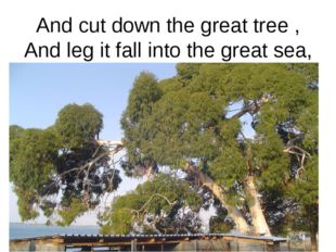 And cut down the great tree , And leg it fall into the great sea,