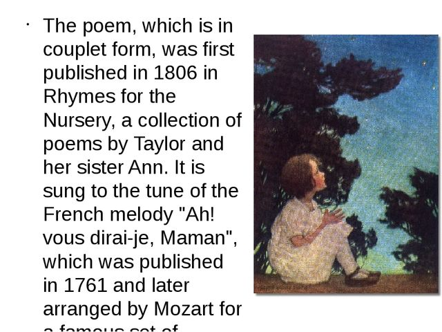 The poem, which is in couplet form, was first published in 1806 in Rhymes for...