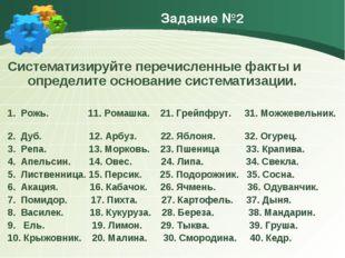 Задание №2 Систематизируйте перечисленные факты и определите основание систем