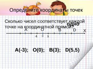 A B D 0 X -1 Определите координаты точек Сколько чисел соответствует каждой