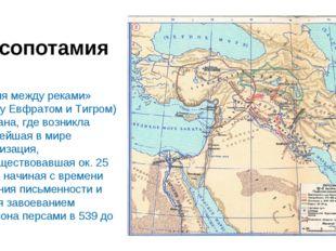 Месопотамия «Земля между реками» (между Евфратом и Тигром) – страна, где возн