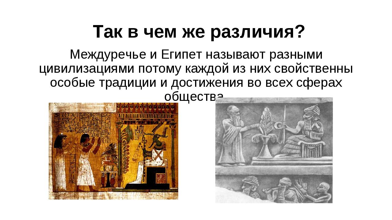 Так в чем же различия? Междуречье и Египет называют разными цивилизациями пот...