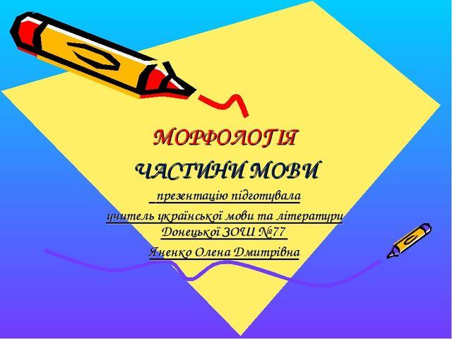 МОРФОЛОГІЯ ЧАСТИНИ МОВИ презентацію підготувала учитель української мови та...